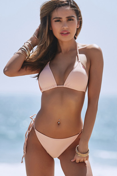 Blush Triangle Top & Blush Full Coverage Scrunch Bottom