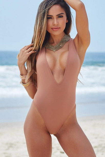 Daffodil Dusty Rose Strappy Deep V High Cut One Piece Swimsuit