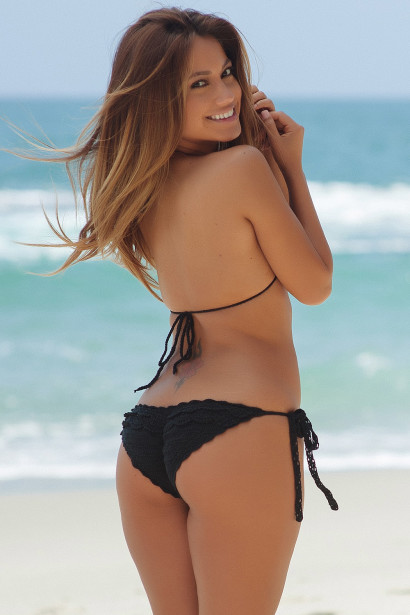Daisy Sexy Black Ruffled Triangle Top Single Rise Crochet Scrunch Bikini