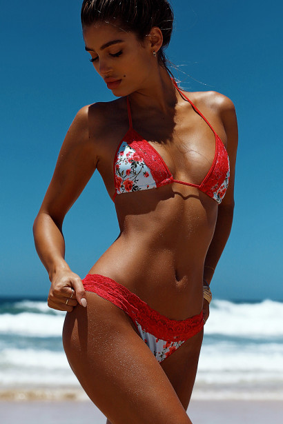 Laguna Single Edge Lace English Rose & Red Bikini Top & Maui Lace Band English Rose & Red Bikini Bottom
