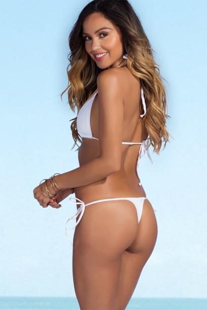Palm Beach Sexy Solid White Triangle Top Thong String Bikini
