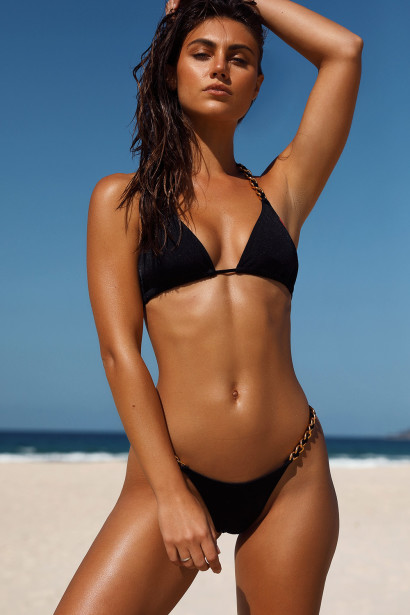 Black Triangle Bikini On a Chain Top & Black Micro Bikini On a Chain Bottom