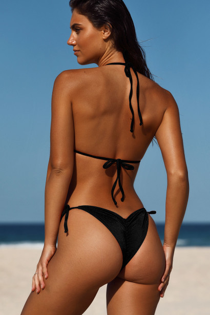 Black Double Strap Center Loop Triangle Top & Black Side Loops Classic Scrunch Bottom
