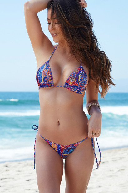 Acapulco Bohemian Print Cheeky Micro Scrunch Bottoms & Triangle Top Bikini