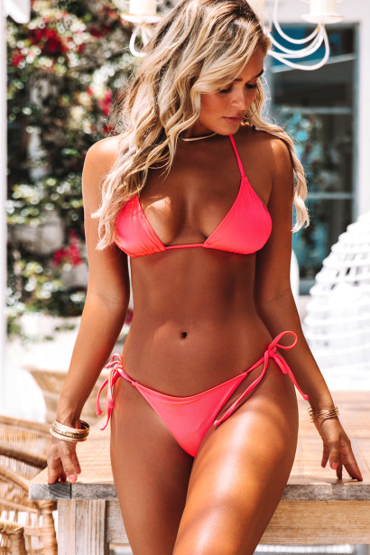 Neon Coral Triangle Top & Neon Coral Brazilian Thong Bottom