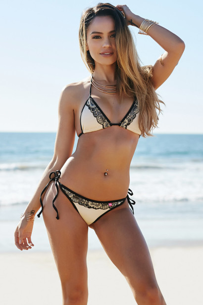 Martinique Sexy Tan Embroidered Floral Lace Triangle Top Scrunch Bottom Bikini