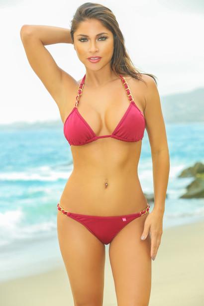 f3763f18b8165 Oahu Bikini on a Chain™ Burgundy Triangle Top   Single Rise ...