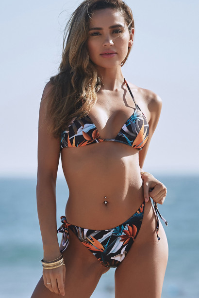 Birds of Paradise Print Triangle Top & Birds of Paradise Print Full Coverage Scrunch Bottom