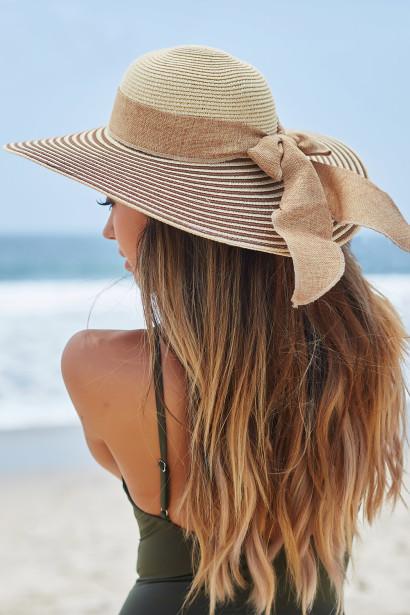 Bahía Solano Brown & Tan Wide Brim Floppy Hat with Bow