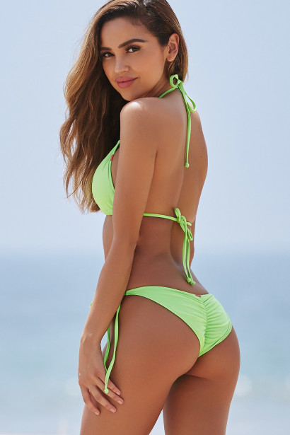 Neon Green Triangle Top & Neon Green Classic Scrunch Bottom