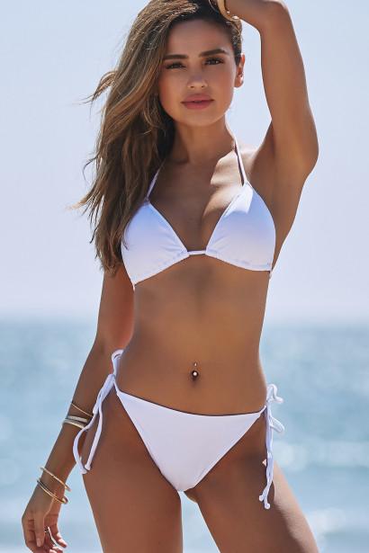 White Triangle Bikini & White Full Coverage Scrunch Bottom