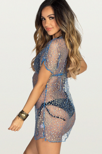 Lady Scarlett Blue & Gold Metallic Delicate Net Beach Cover Up