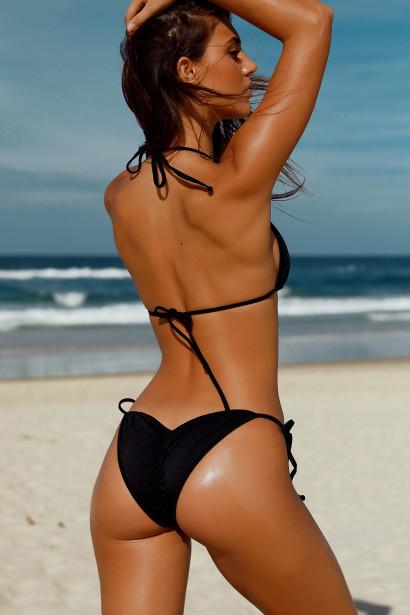 Solid Black Triangle Bikini Top & Classic Scrunch Bottom Swimsuit