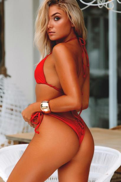 Manhattan Sexy Red Bikini Top & Single Rise Scrunch Bottom Swimsuit