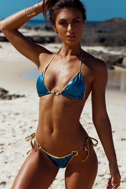 Laguna Turquoise & Gold Center Loop Bikini Top & Panama Turquoise & Gold Side Loops Bikini Bottom