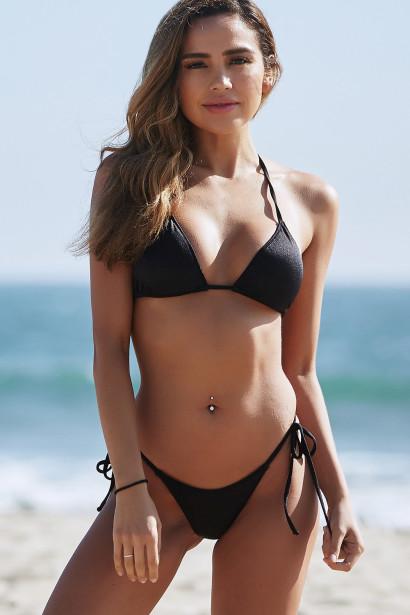 Black Triangle Bikini Top & Black Brazilian Thong Bottom
