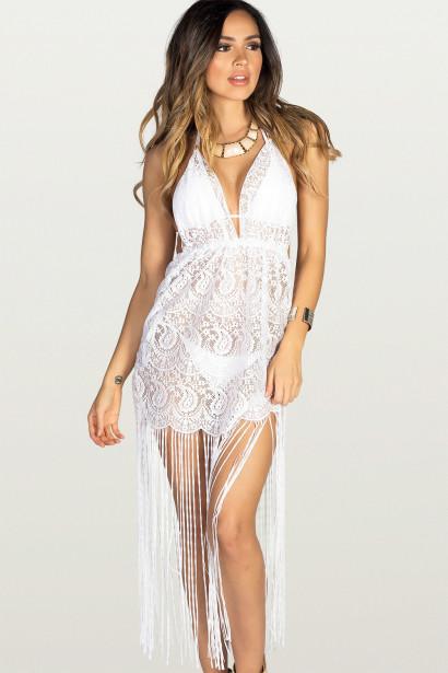 Sweet Dream White Lace Fringe Halter Beach Dress Cover Up
