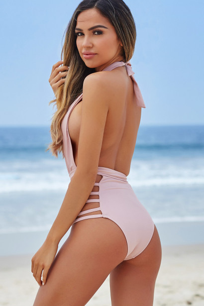 Zinnia Pink Plunging Halter Neckline High Waisted Swimsuit