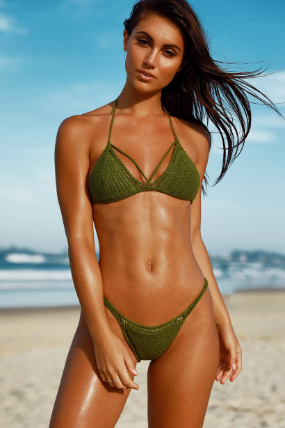 Lemongrass Olive Bikini Top & Rosemary Olive Bikini Bottom