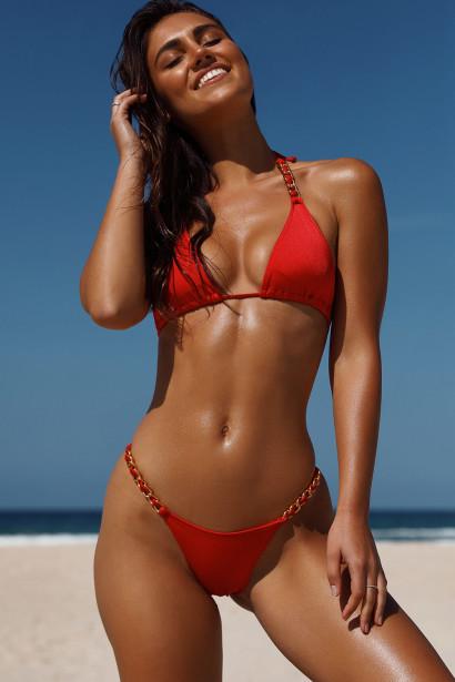 Red Triangle Bikini On a Chain Top & Red Cheeky Micro Bikini On a Chain Bottom