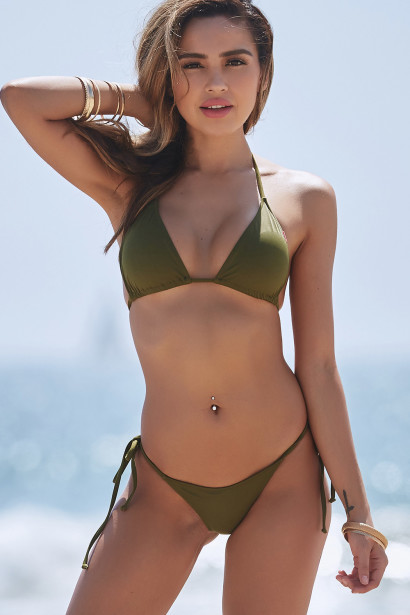Olive Triangle Top & Olive Brazilian Thong Bottom
