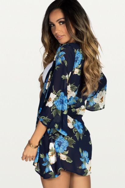Royal Hawaiian Navy & Blue Floral Print Bell Sleeve Chiffon Kimono Cover Up