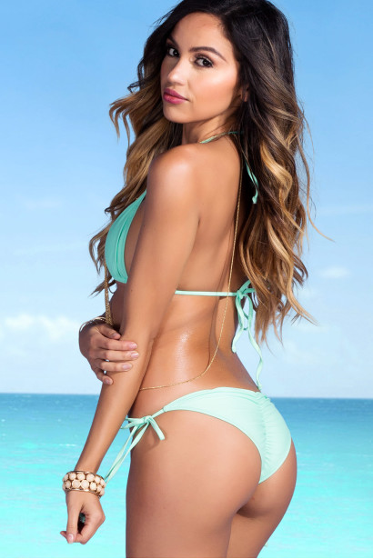 Mint Triangle Top & Mint Classic Scrunch Bottoms