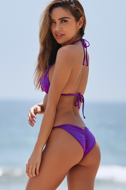 Purple Triangle Top & Purple Classic Scrunch Bottom