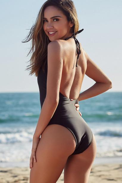 Heather Black Keyhole Halter One Piece Swimsuit