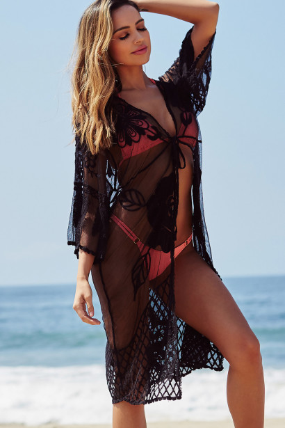 Ayala Black Lace Floral Kimono Beach Cover Up