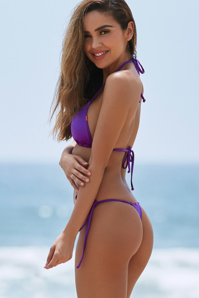 Purple Triangle Top & Purple G-String Thong Bottom