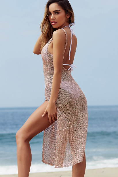 Millionaire Rose Gold Metallic Maxi Dress Cover Up