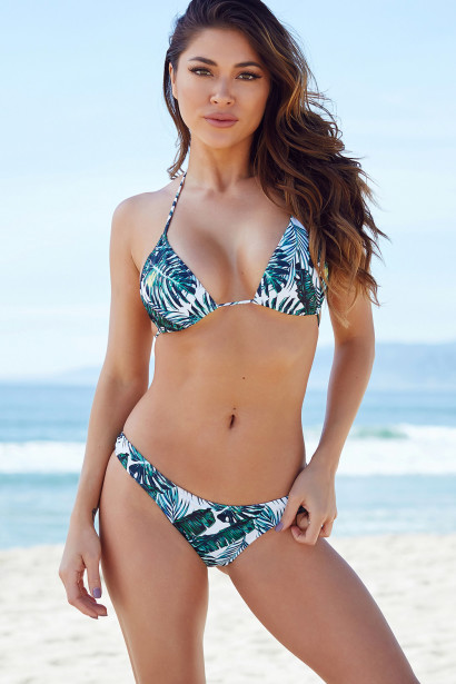 Ibiza Brazilian Cut Tropical Palm Print Triangle Top Sexy Thong Bikini