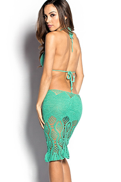 Passion Flower Emerald Green Backless Crochet Midi Dress Cover Up