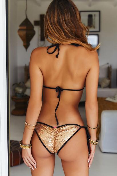 Black & Gold Sequin Triangle Top & Black & Gold Sequin Classic Scrunch Bottom