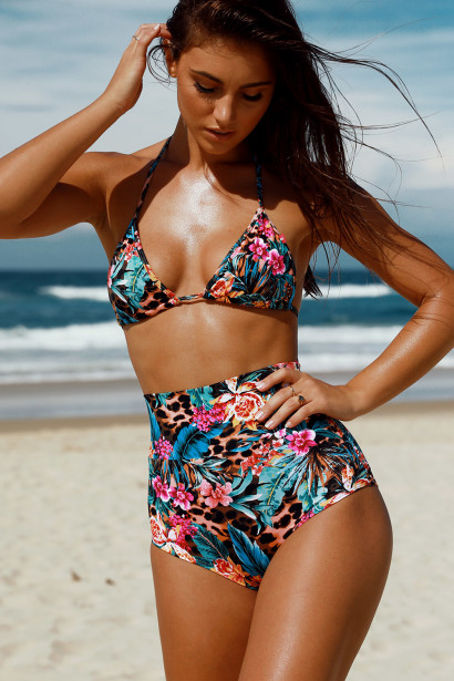 Waikiki Tropical Print Triangle Top & Scrunch Bottom Retro Sexy High Waist Bikini