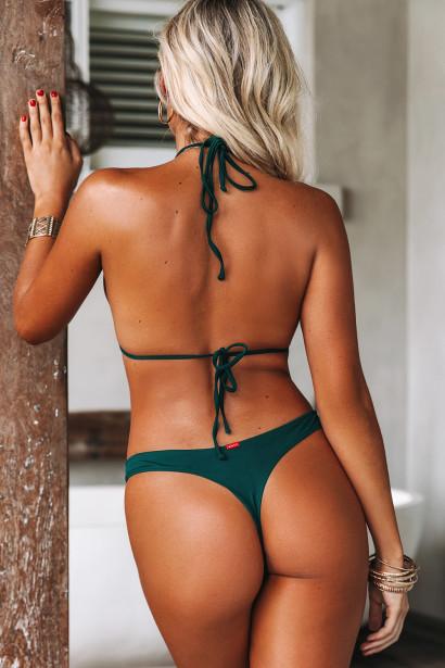 Hunter Green Triangle Top & Hunter Green Banded Brazilian Thong Bottom