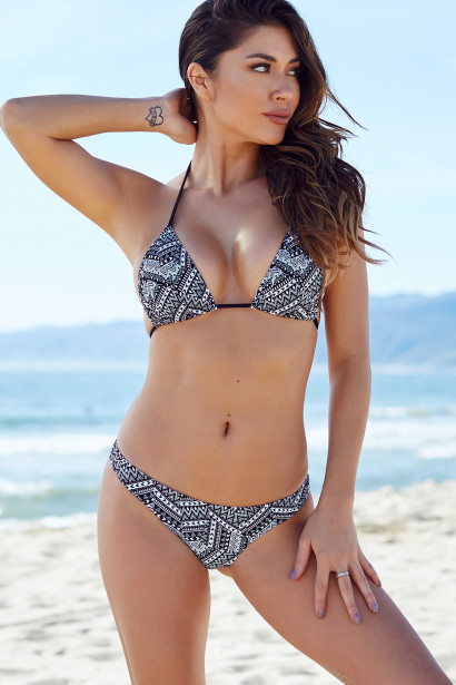 Ibiza Brazilian Cut Tribal Print Triangle Top Sexy Thong Bikini