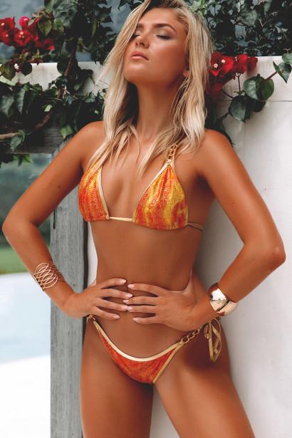 Laguna Orange Crocodile & Gold Triple Chain Bikini Top & Panama Orange Crocodile & Gold Triple Chain Bikini Bottom
