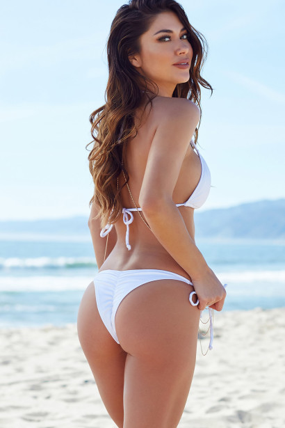 White Triangle Top Bikini & White Micro Scrunch Bun® Bottoms