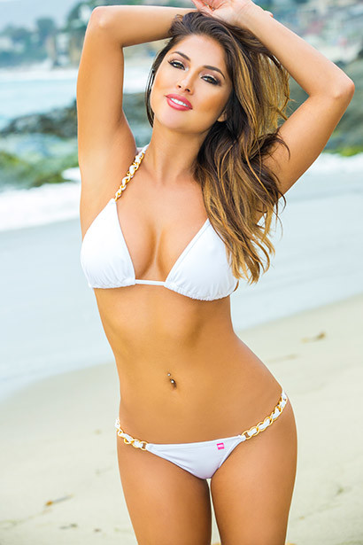 Brazil Bikini on a Chain™ Sexy White Triangle Top & Micro Scrunch Bottom