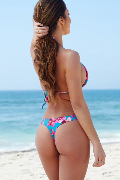 Teal Orchids Print Triangle Top & Teal Orchids Print Banded Brazilian Thong Bottom
