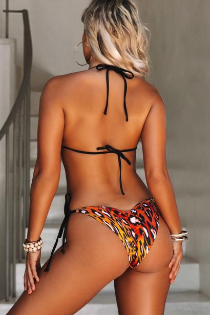 Sunset Leopard & Black Triangle Top & Sunset Leopard & Black Classic Scrunch Bottom