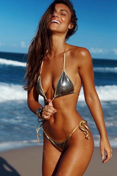 Laguna Cosmic Gold & Gold Classic Bikini Top & Panama Cosmic Gold & Gold Classic Bikini Bottom