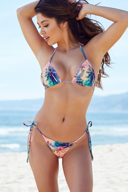 Palm Beach Watercolor Palm Tree Print Triangle Top Thong String Bikini