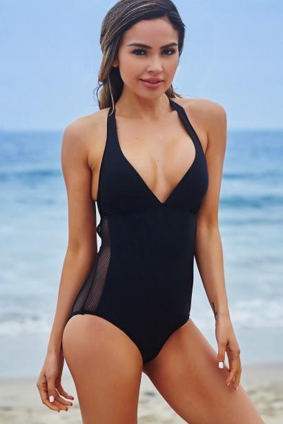 Larkspur Black T Back Mesh Cut Out One Piece Swimsuit