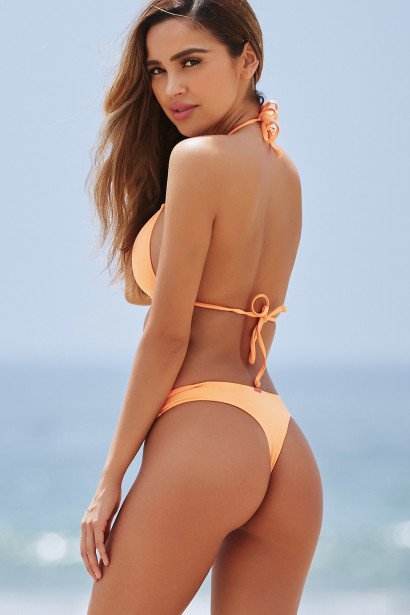 Neon Orange Triangle Top & Neon Orange Banded Brazilian Thong Bottom