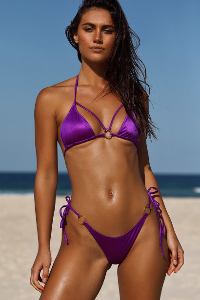 Purple Double Strap Center Loop Triangle Top & Purple Side Loops Classic Scrunch Bottom