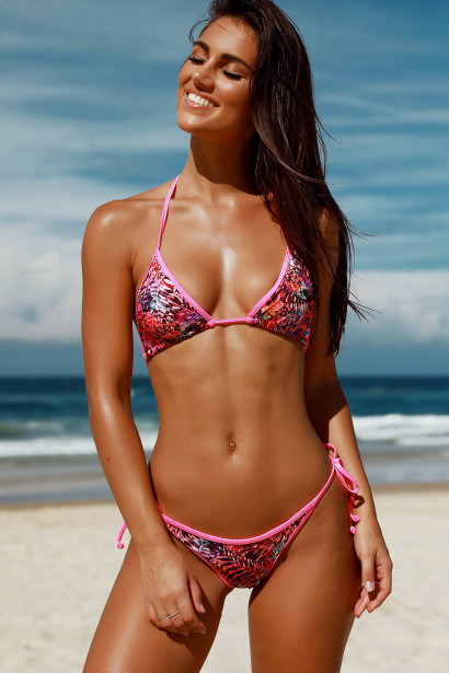 Lima Sexy Paradise Print & Neon Pink Triangle & Single Rise Scrunch Bun® Swimsuit