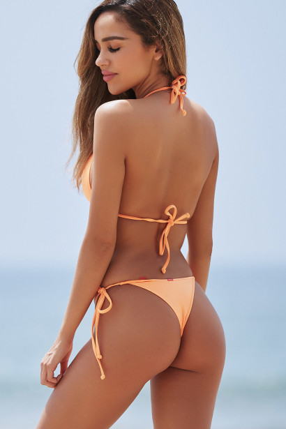 Neon Orange Triangle Top & Neon Orange Brazilian Thong Bottom